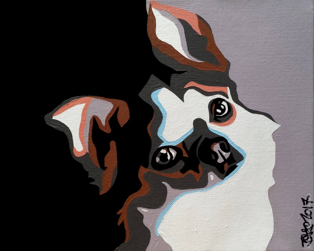 artiste peintre paris, commision work, animal art, chihuahua painting