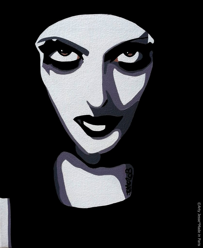 artiste peintre paris, pop art paris, gothic girl painting