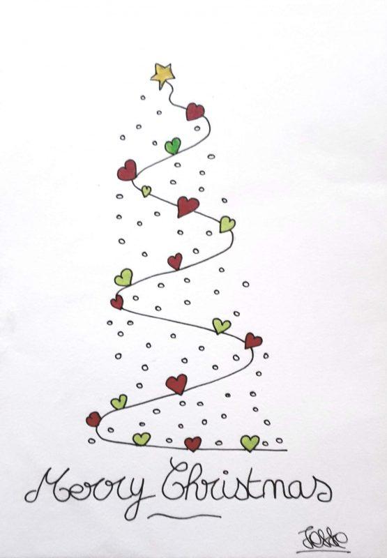 Merry Christmas, xmas card, artiste peintre paris, calligraphy