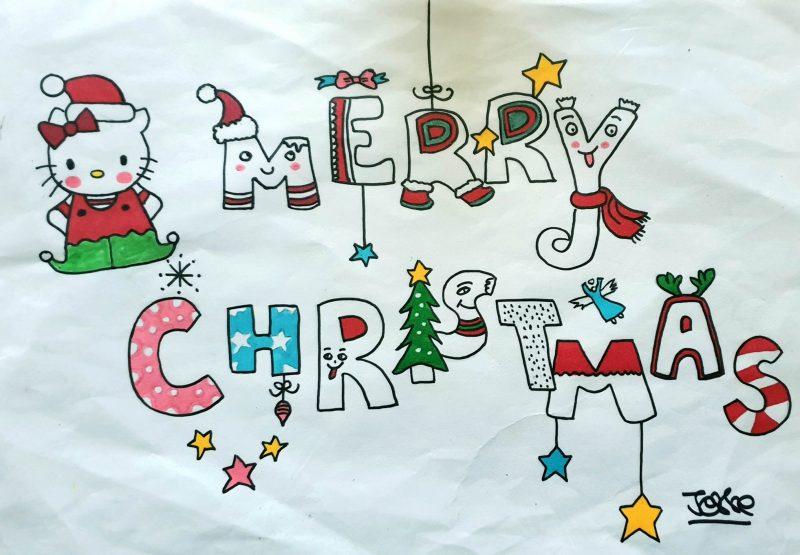Merry Christmas, hello kitty, artiste peintre paris, calligraphy