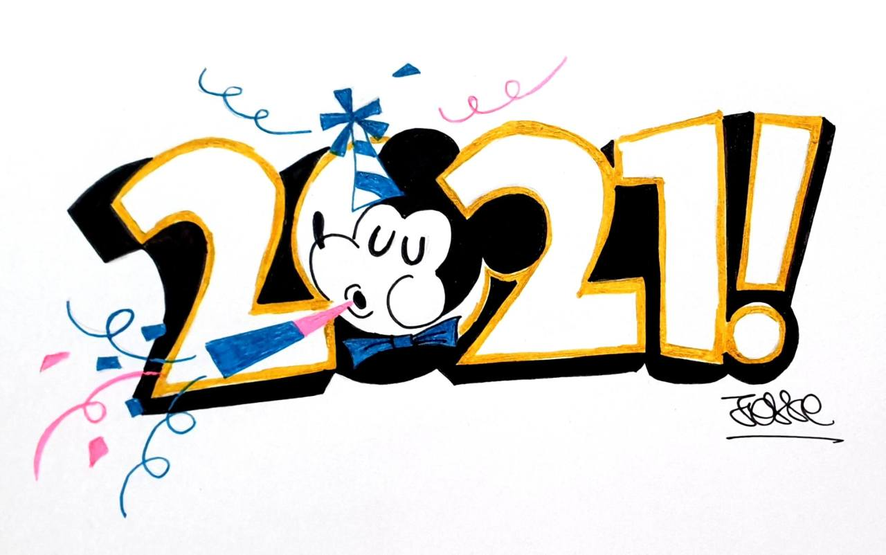 2021, mickey mouse, happy new year, artiste peintre paris, calligraphy