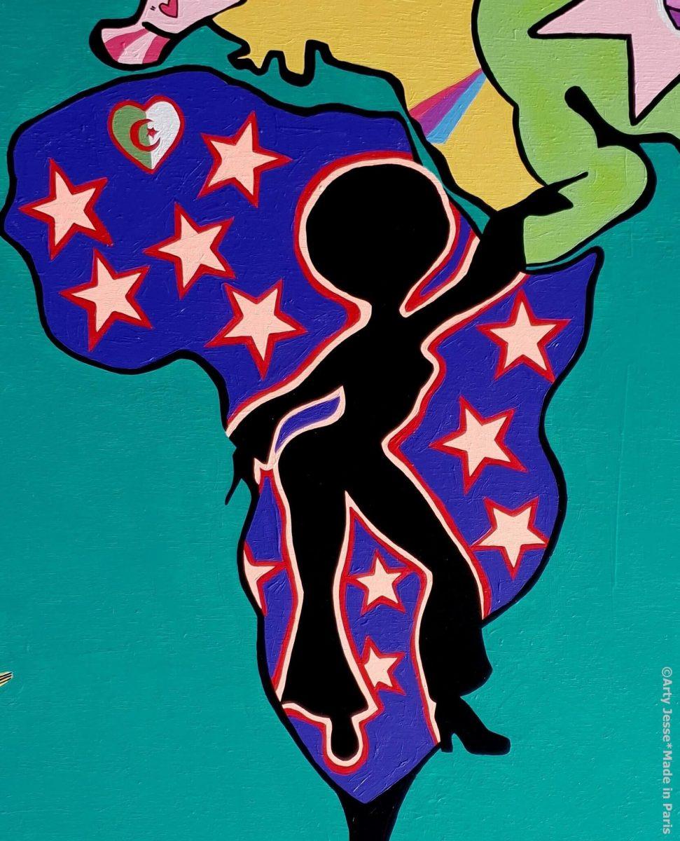 arty jesse, artiste peintre paris, pop art paris, art blog, arty world maps, carte du monde art, africa, funky