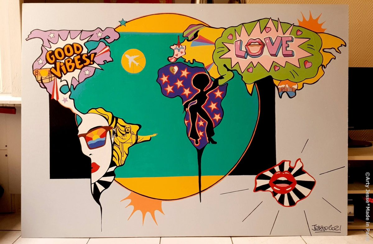 arty jesse, artiste peintre paris, pop art paris, art blog, arty world maps, carte du monde art, funky art